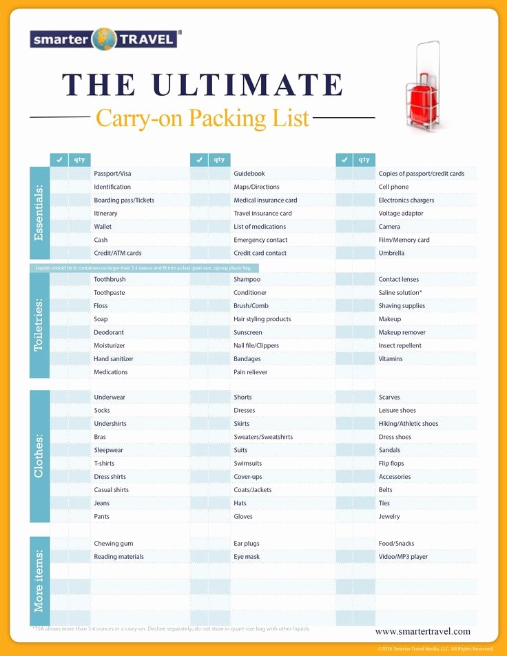 International Travel Packing List Template Fresh the Essential Carry Bag Packing List