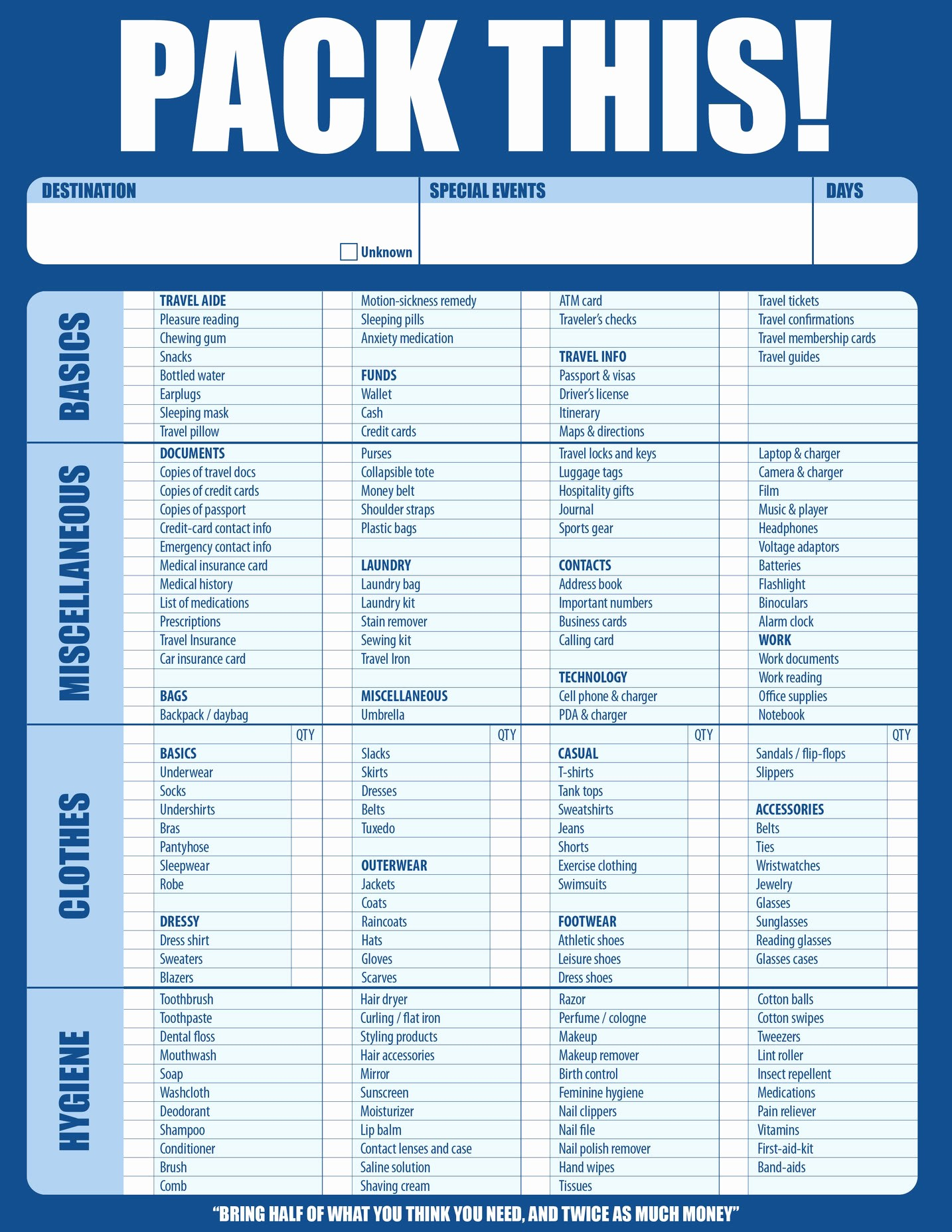 International Travel Packing List Template Luxury Travel Preferred Motorcoach Transportation Llc