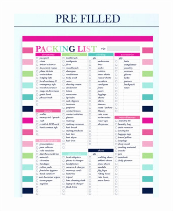 International Travel Packing List Template New Overseas Packing List Template Templates Station