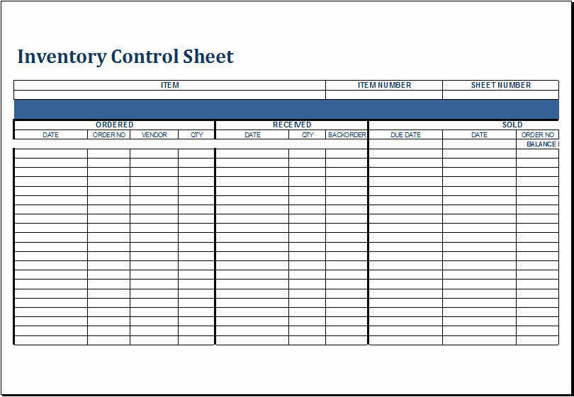 Inventory Control Spreadsheet Template Free Awesome Inventory Control Sheet Template for Excel