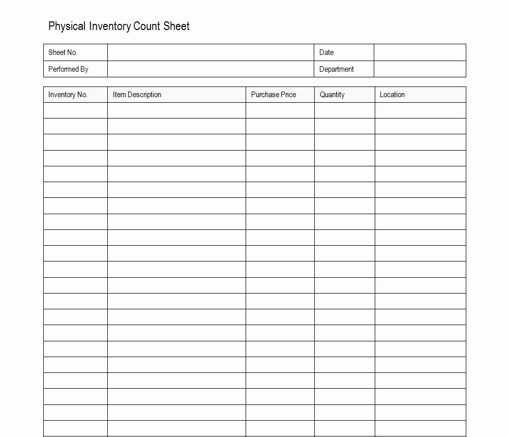 Inventory Count Sheet Template Free Awesome Inventory Count Sheet