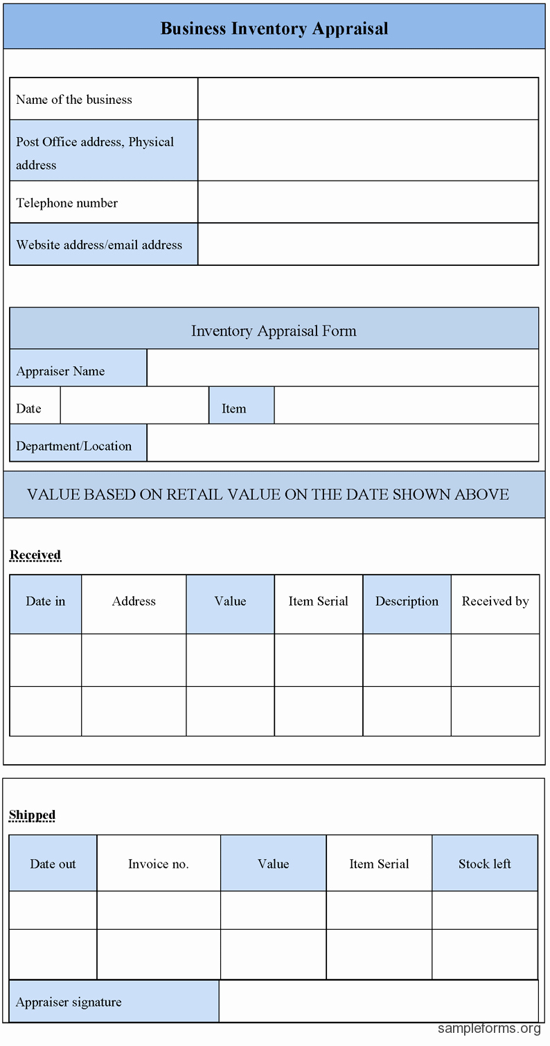 Inventory forms for Small Business Inspirational Business Inventory Appraisal form Sample forms