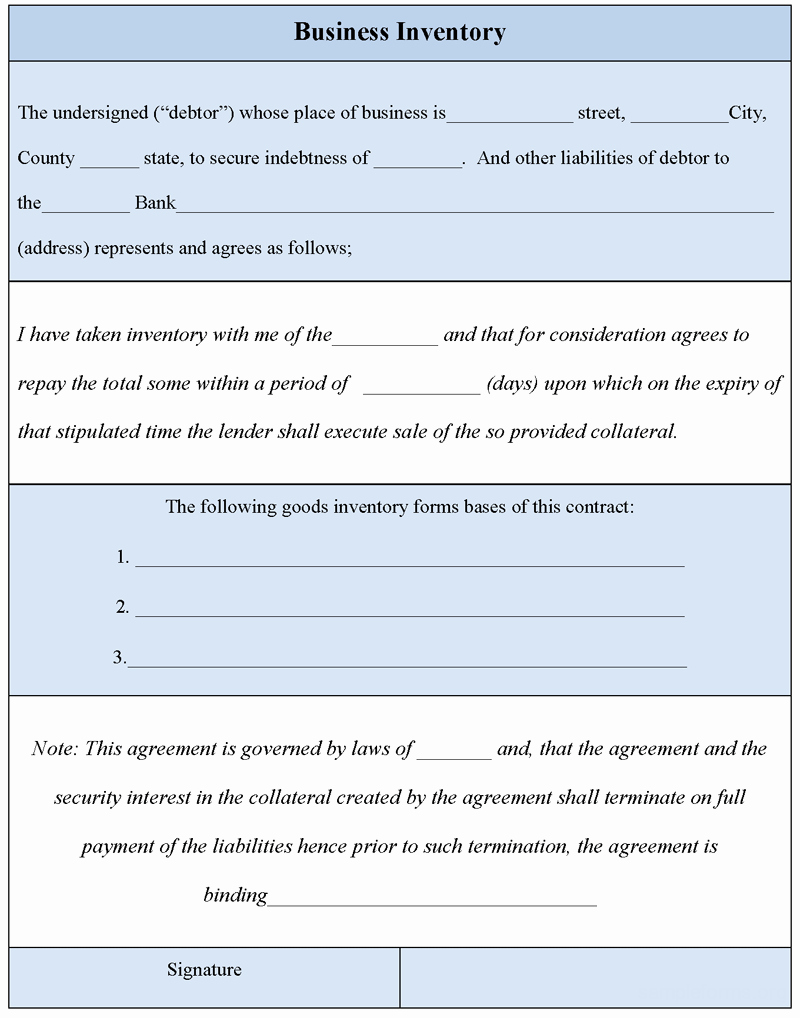 Inventory forms for Small Business New Business Inventory form Sample forms