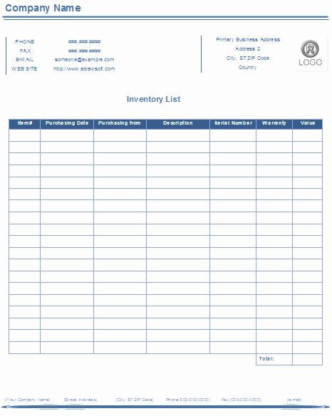 Inventory List Template Free Download Elegant Inventory List Templates Free Download