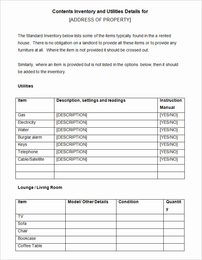 Inventory List Template Free Download Elegant Landlord Inventory Template 8 Free Word Documents