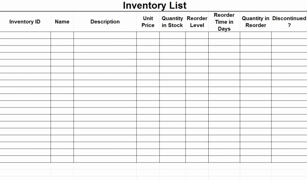 Inventory List Template Free Download Fresh Inventory List
