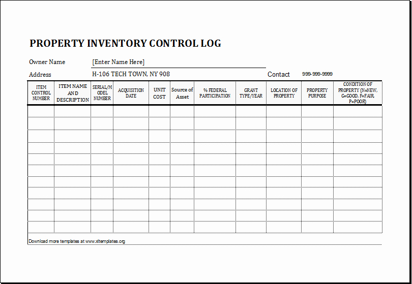 Inventory Log Sheet Excel Template Elegant Property Inventory Log Template for Excel