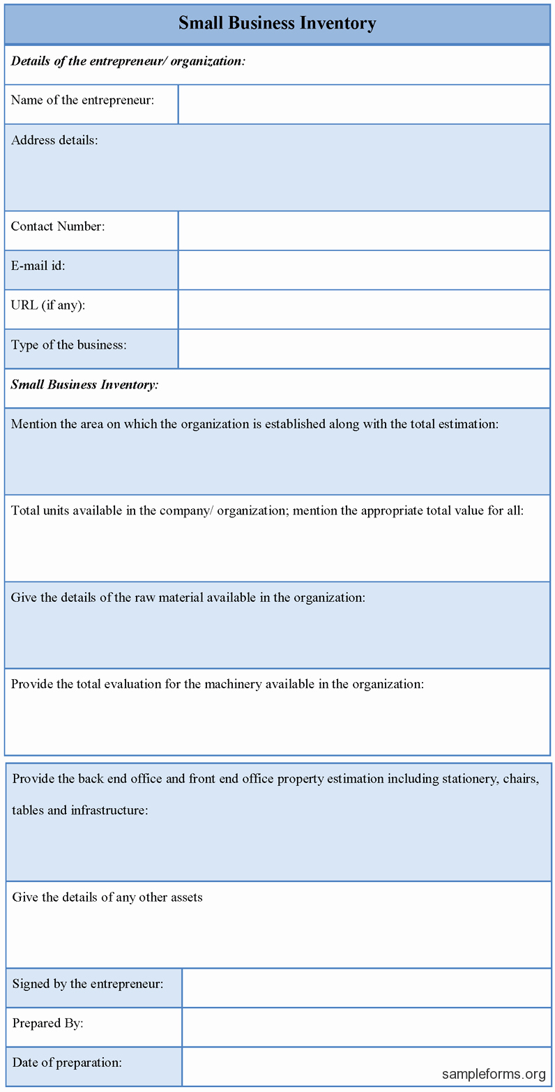 Inventory Sheets for Small Business Unique Small Business Inventory form Sample forms
