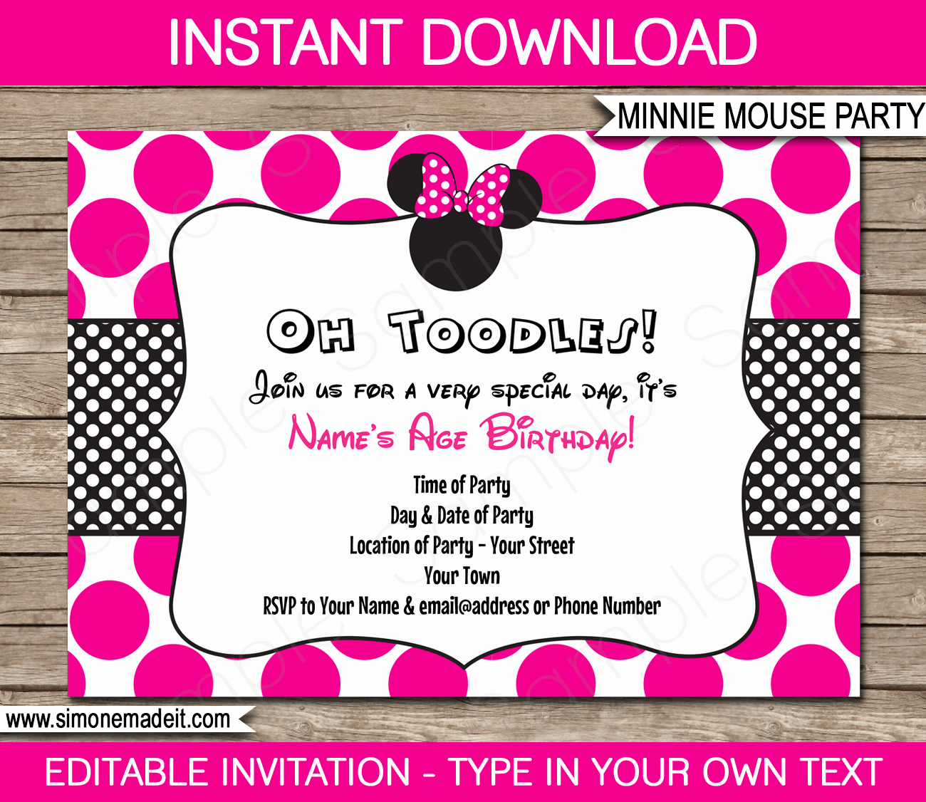 Invitation format for Birthday Party Awesome Minnie Mouse Party Invitations Template