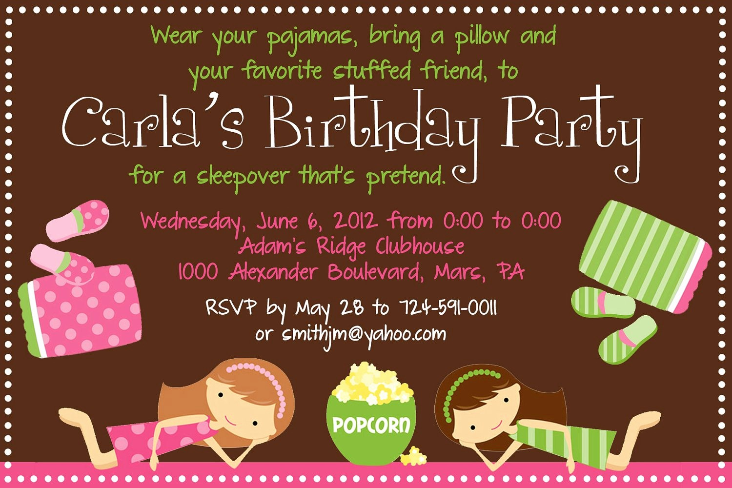 Invitation format for Birthday Party Awesome Sleepover Birthday Party Invitation Printable