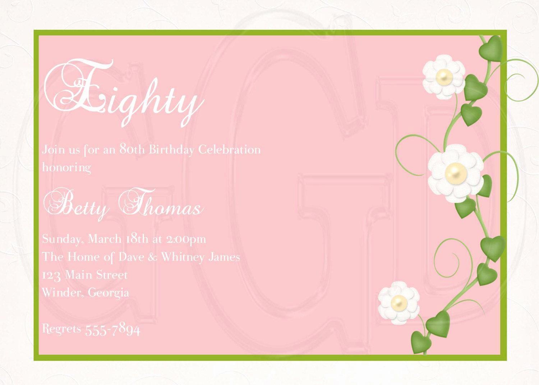 Invitation format for Birthday Party Beautiful 15 Sample 80th Birthday Invitations Templates Ideas