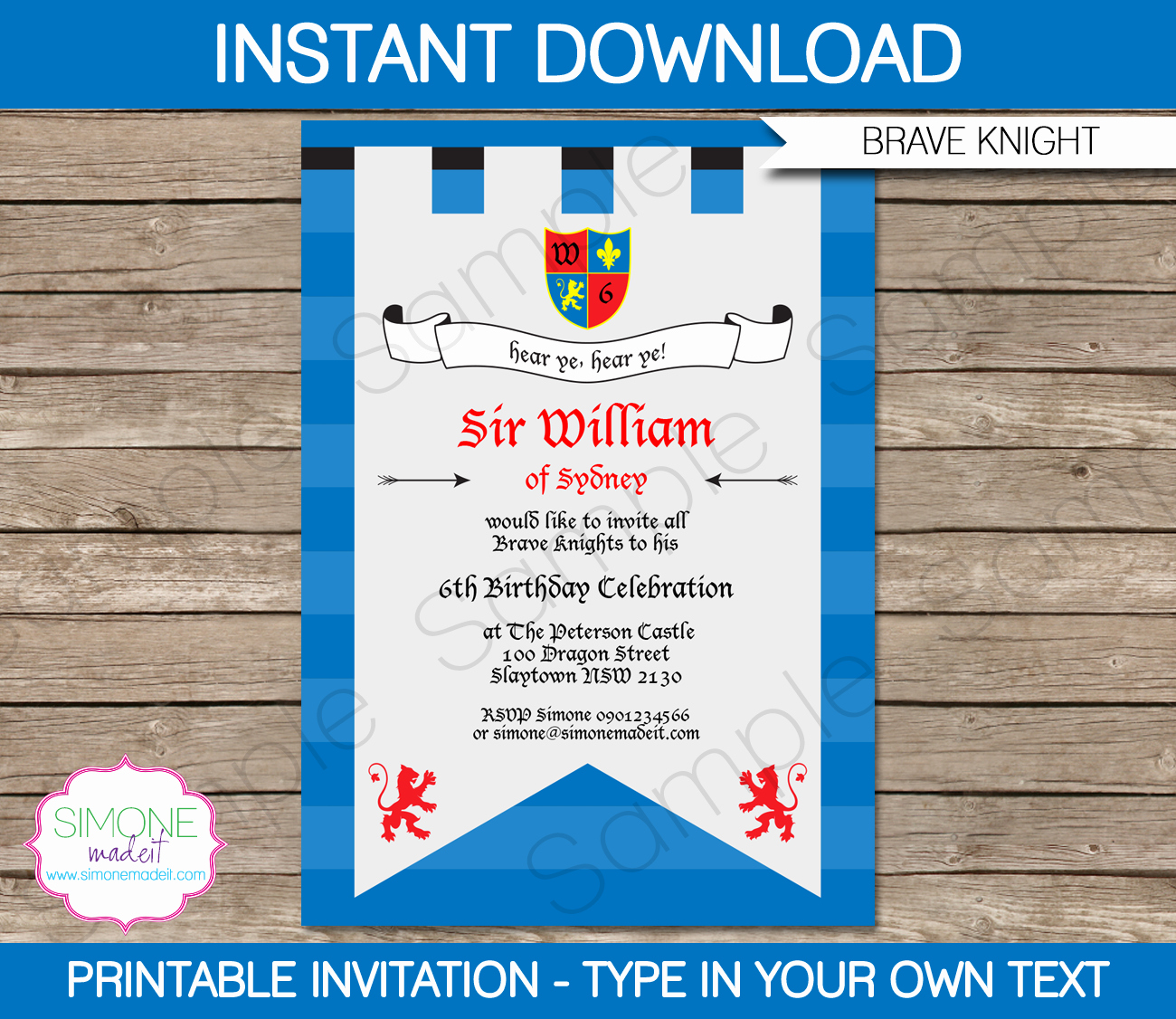 Invitation format for Birthday Party Beautiful Knights Party Knight Birthday Party