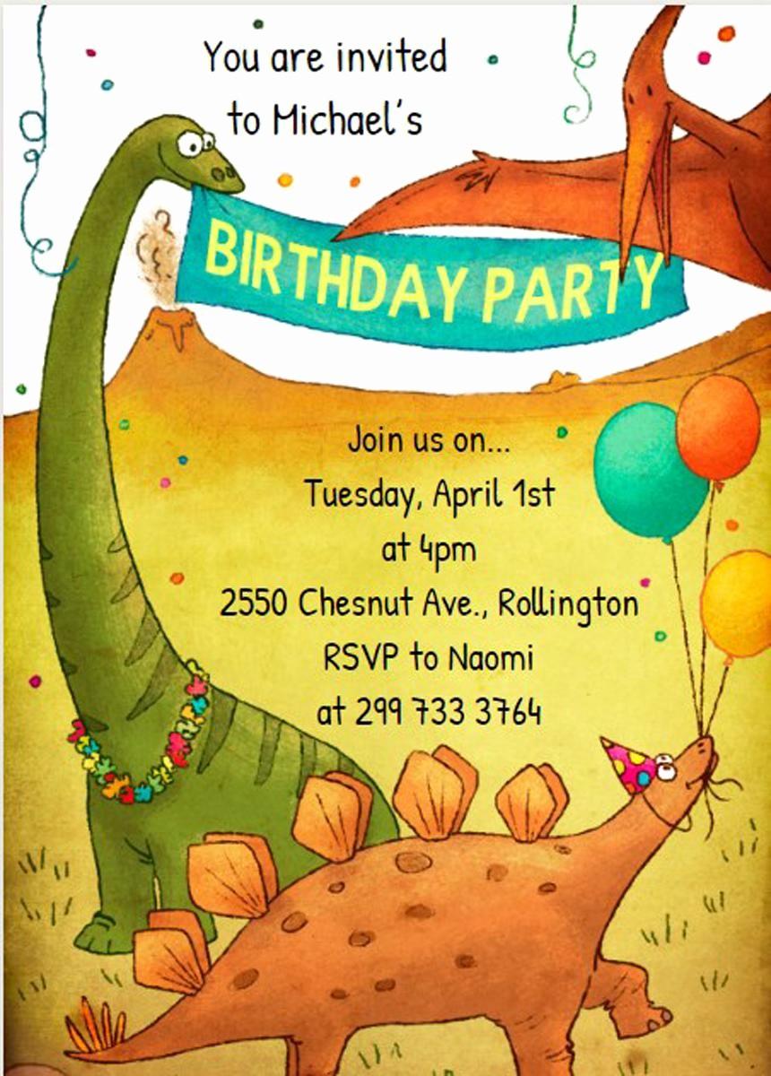 Invitation format for Birthday Party Fresh 17 Dinosaur Birthday Invitations How to Sample Templates