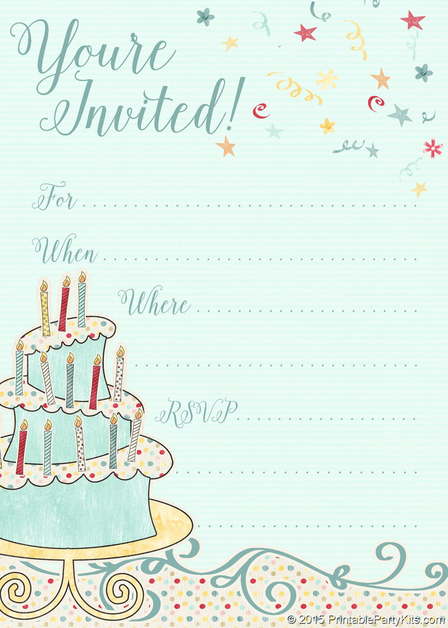 Invitation format for Birthday Party Lovely Free Printable Whimsical Birthday Party Invitation