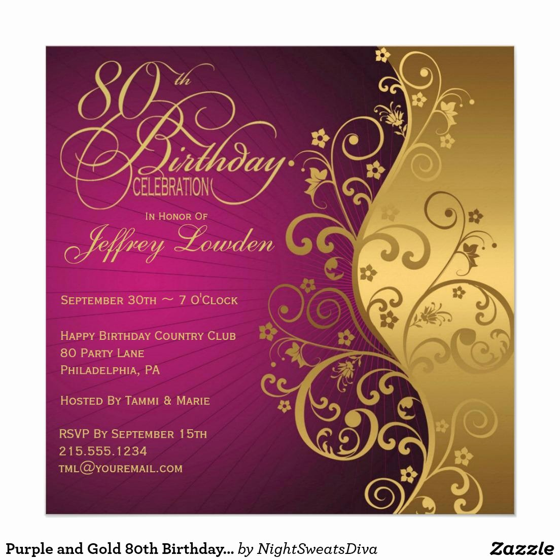 Invitation format for Birthday Party New 15 Sample 80th Birthday Invitations Templates Ideas