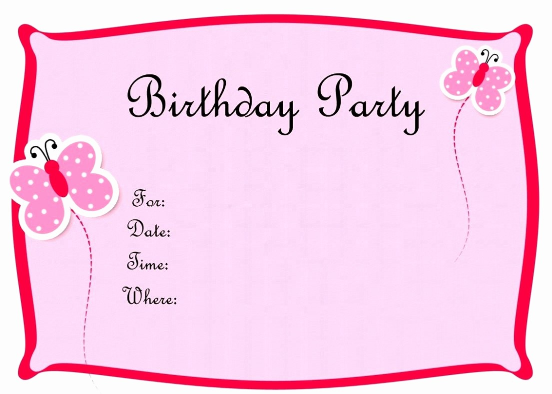 Invitation format for Birthday Party New Birthday Party Invitation Card Template Word