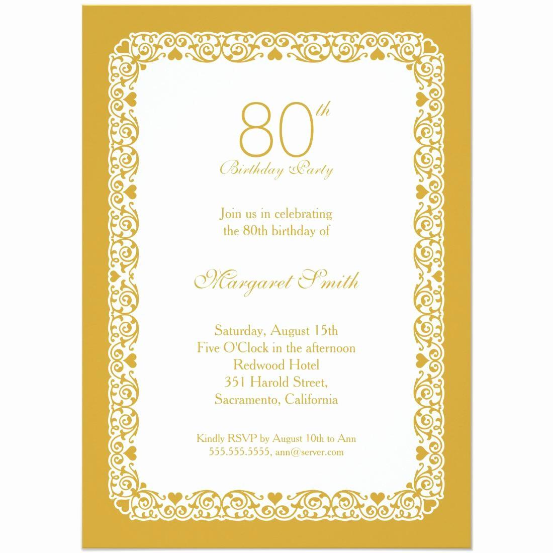 Invitation format for Birthday Party Unique 15 Sample 80th Birthday Invitations Templates Ideas