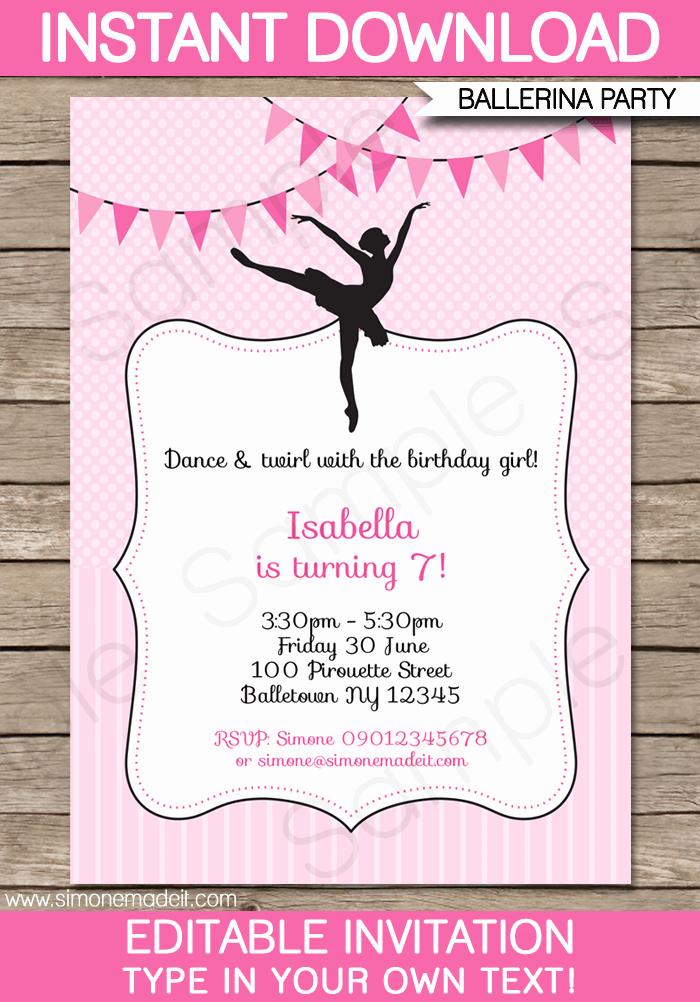Invitation format for Birthday Party Unique Ballerina Party Invitations Template