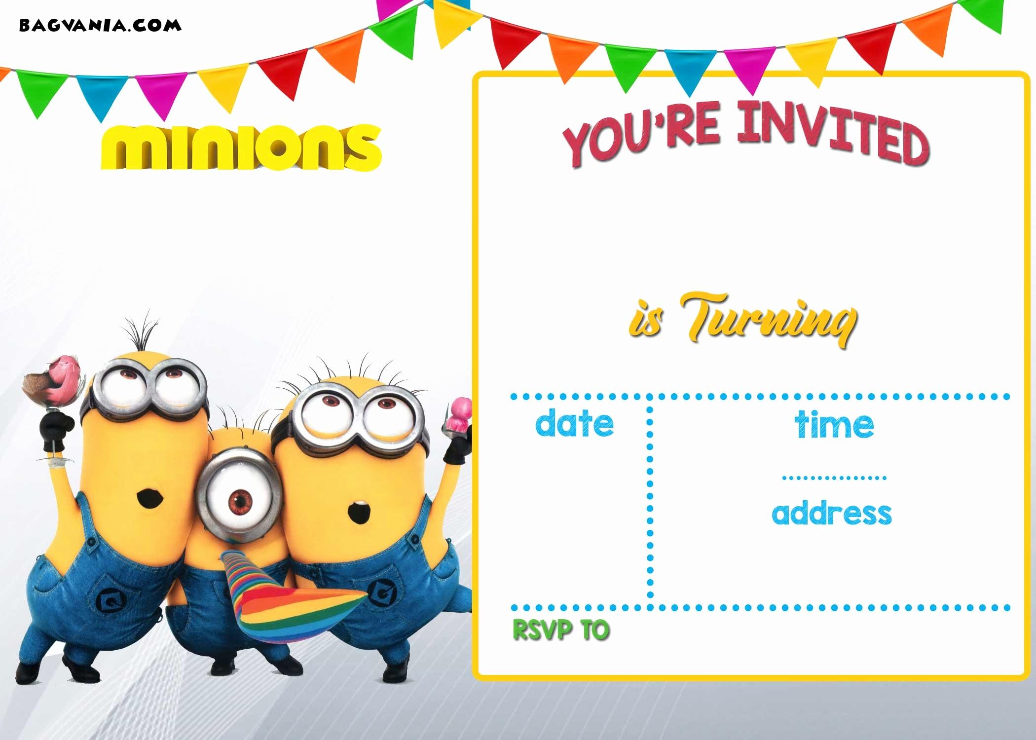 Invitation format for Birthday Party Unique Free Printable Minion Birthday Party Invitations Ideas