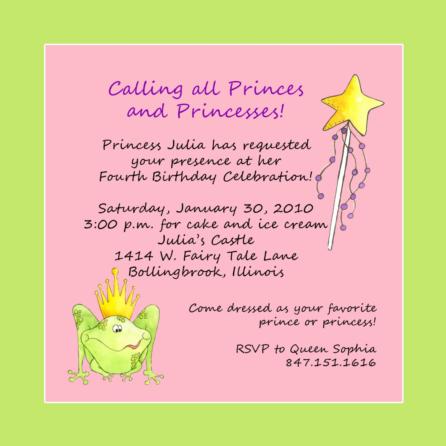 Invitation format for Birthday Party Unique Princess theme Birthday Party Invitation Custom Wording