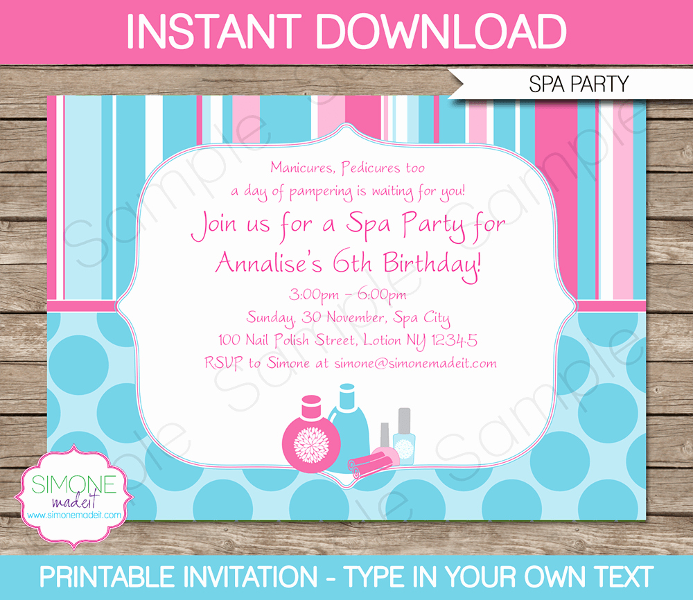 Invitation format for Birthday Party Unique Spa Party Invitations Template
