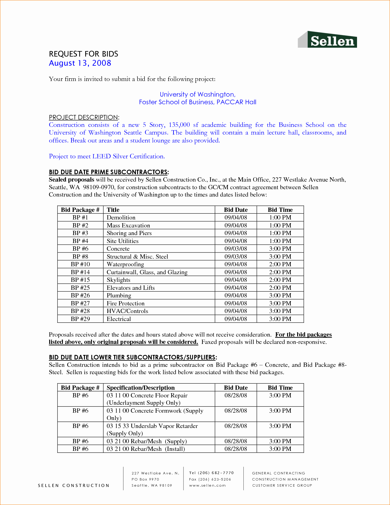 Invitation to Bid Template Construction Awesome 6 Bid Template