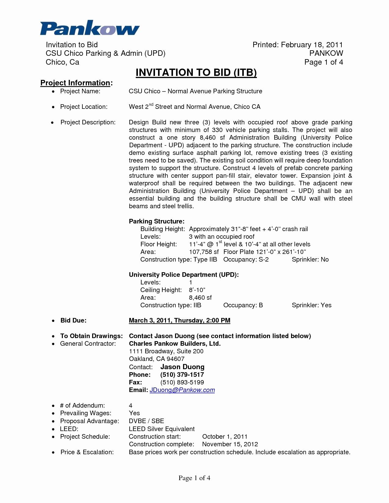 Invitation to Bid Template Construction Elegant Construction Invitation to Bid Template Gallery Template