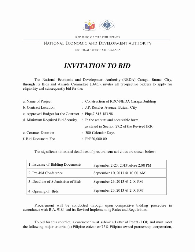 Invitation to Bid Template Construction Fresh Invitation to Bid