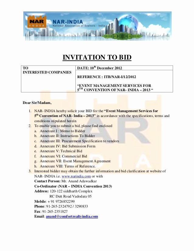 Invitation to Bid Template Construction Inspirational Invitation to Bid for Fifth Convention Of Nar India