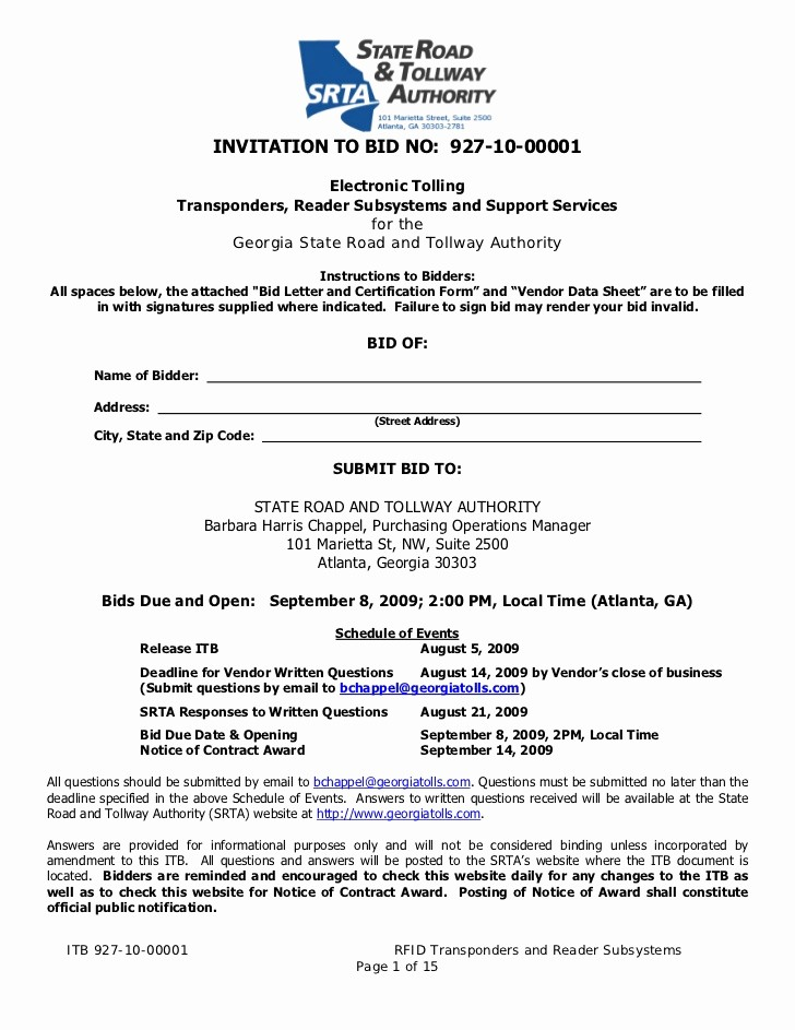 Invitation to Bid Template Construction Luxury Invitation to Bid No 927 10