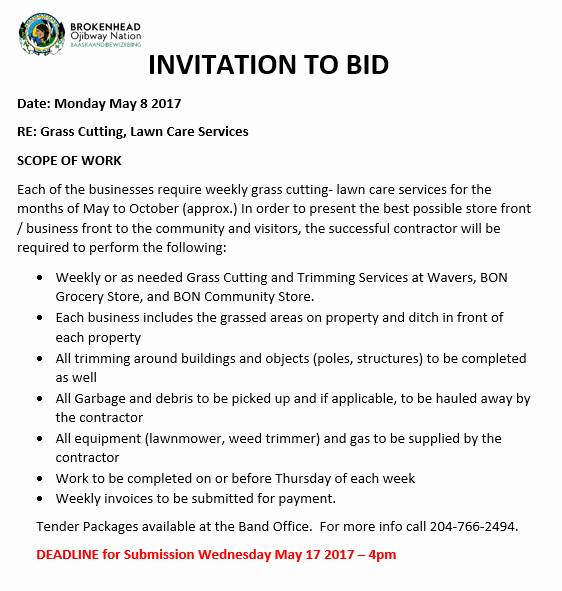 Invitation to Bid Template Construction Unique Brokenhead Ojibway Nation