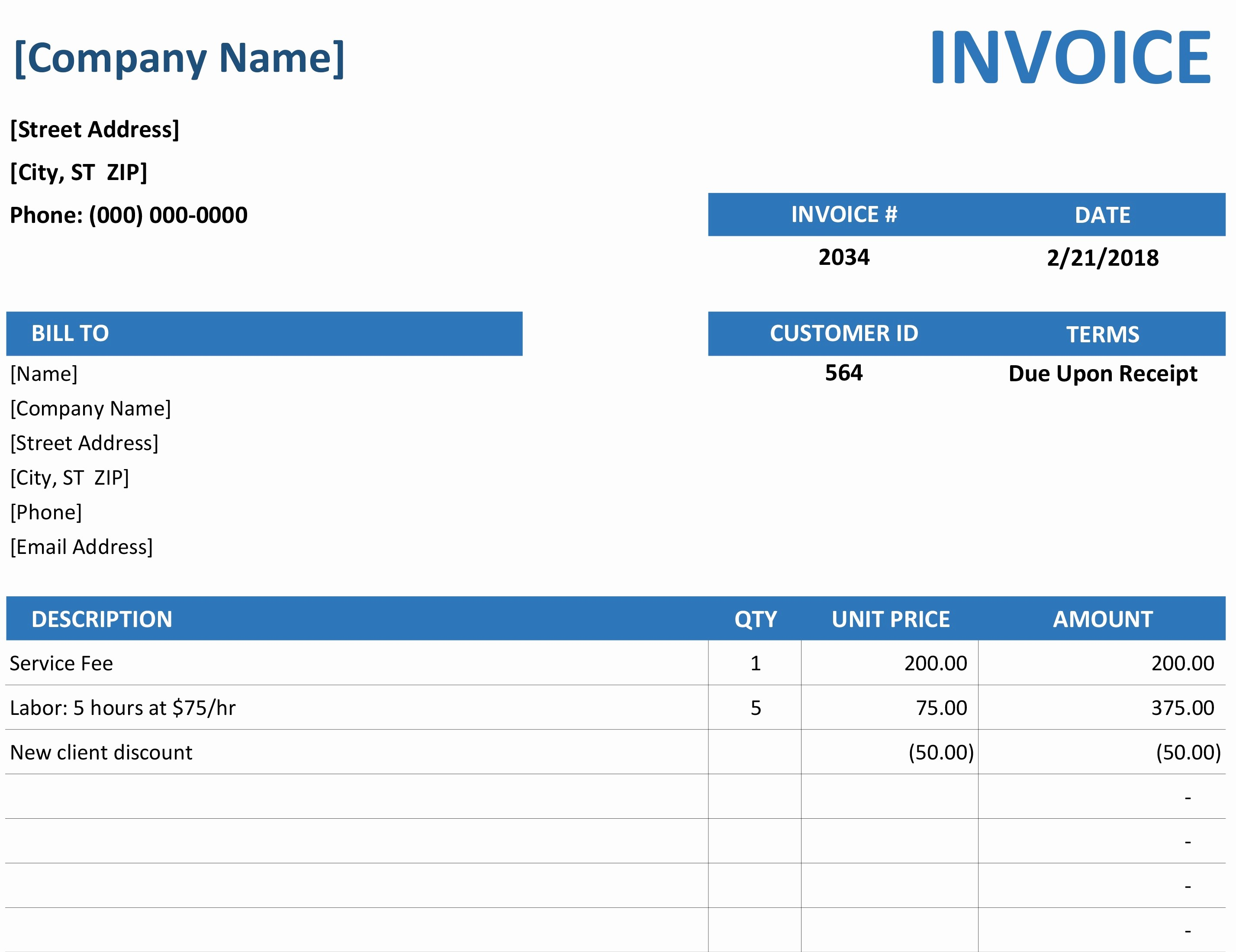 Invoice Bill format In Excel Beautiful Invoice