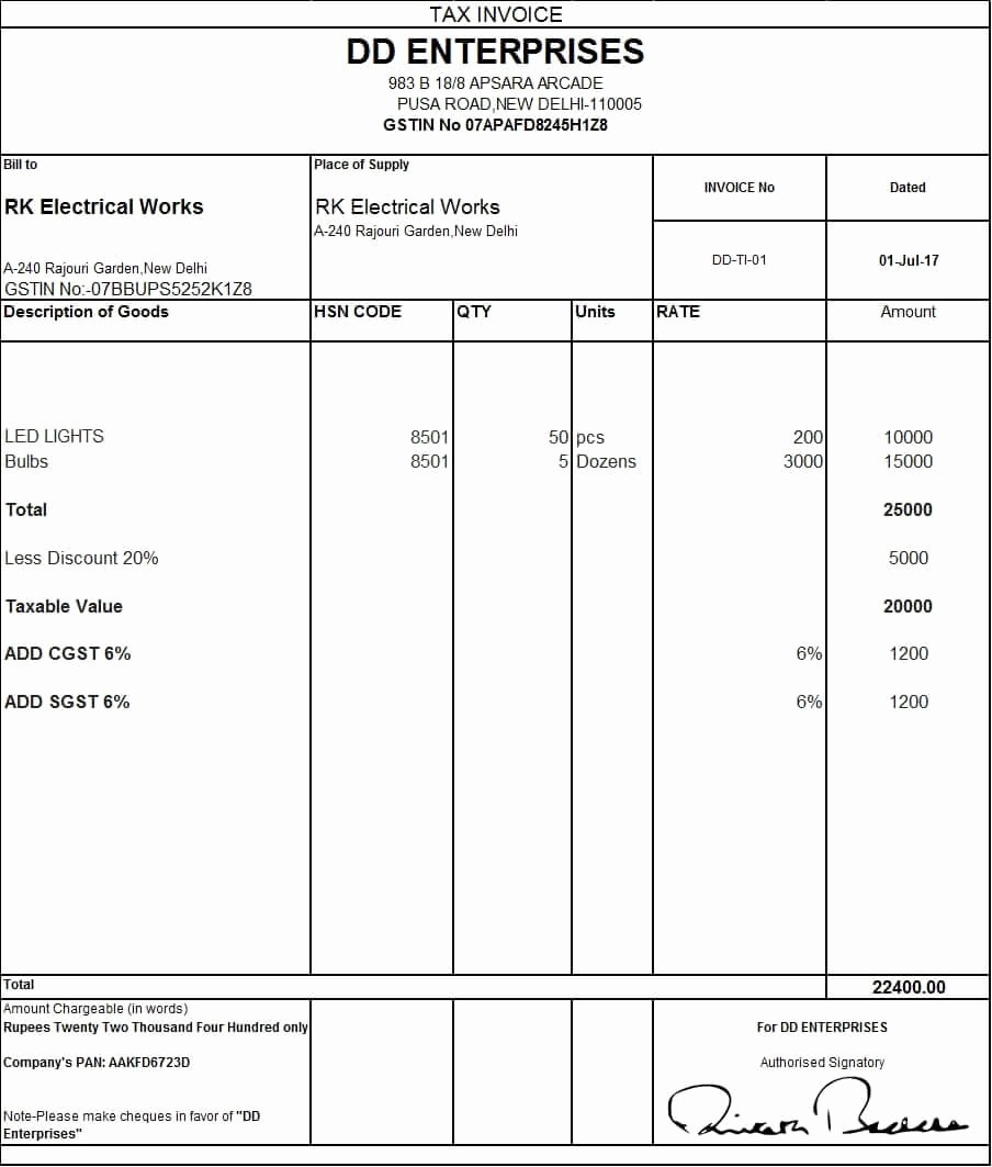 Invoice Bill format In Excel Lovely Download Excel format Of Tax Invoice In Gst Gst Invoice