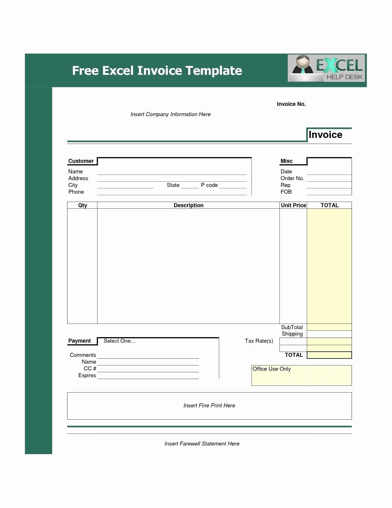 Invoice Bill format In Excel New Invoice Template Free Download Excel Invoice Template Ideas