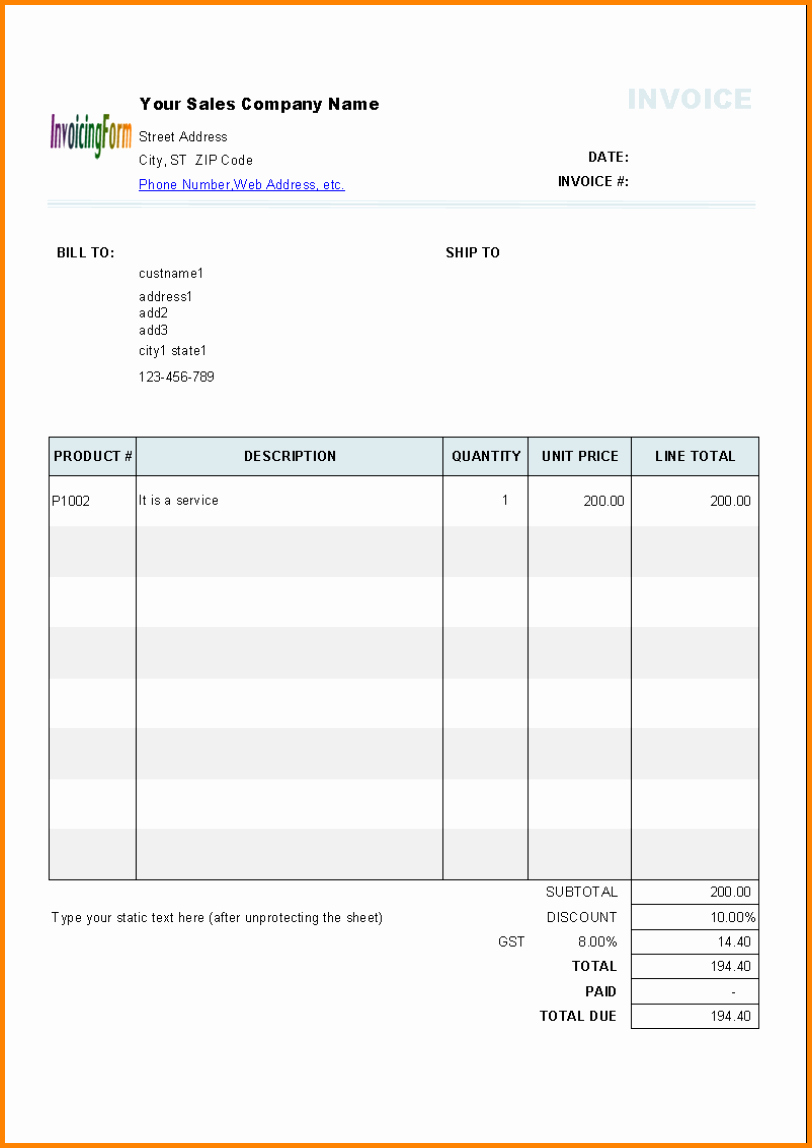 Invoice Bill format In Excel Unique 8 Mission Bill format In Word