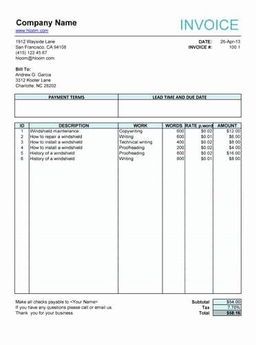 Invoice for Work Done Template Elegant 10 Free Freelance Invoice Templates [word Excel]