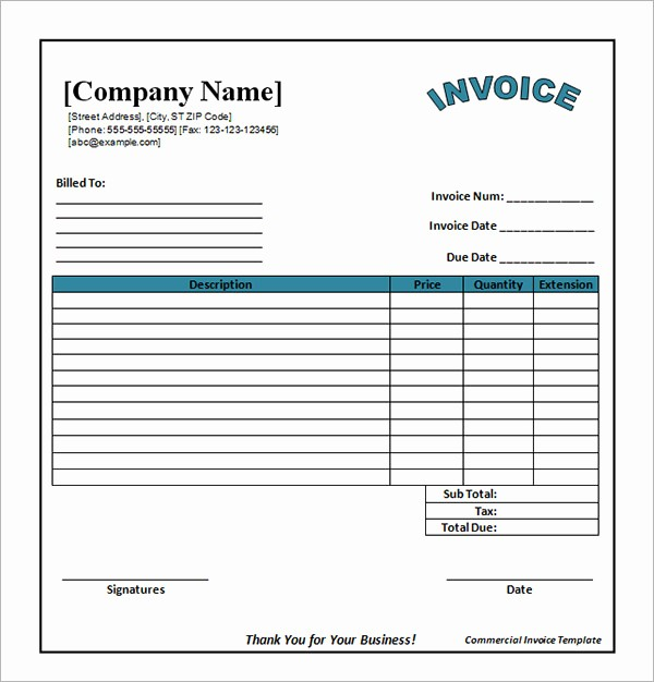 Invoice Template Excel Download Free Elegant 52 Sample Blank Invoice Templates
