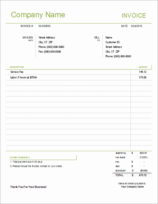 Invoice Template Excel Download Free Luxury Simple Invoice Template for Excel Free