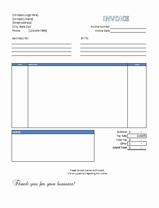 Invoice Template Excel Download Free New Excel Service Invoice Template Free Download