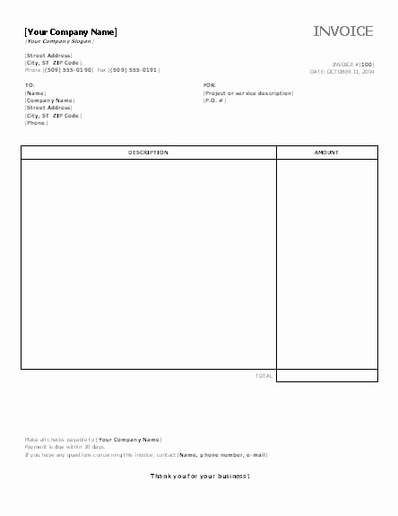 Invoice Template for Microsoft Word Awesome 9 Best Of Microsoft Fice Invoice Templates Free