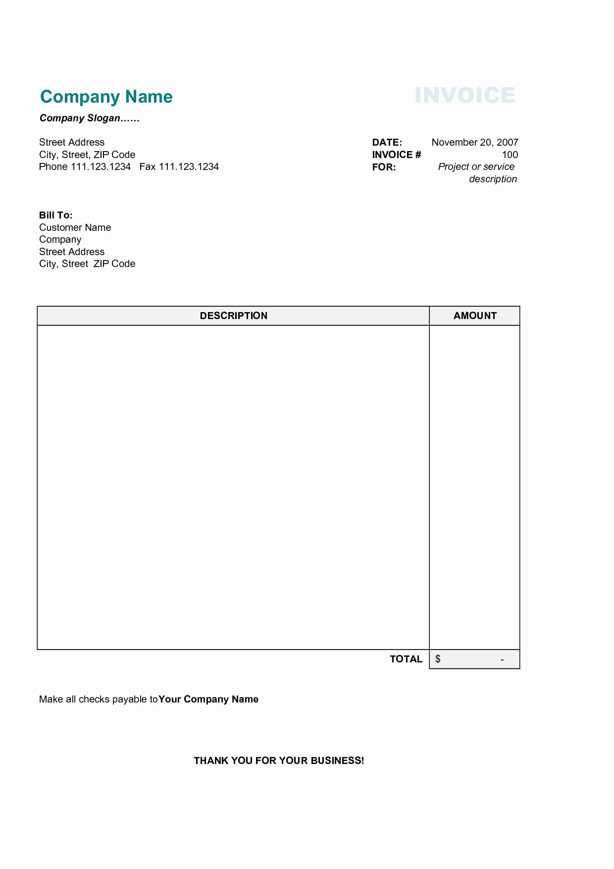 Invoice Template Word Download Free Fresh Simple Invoice Template