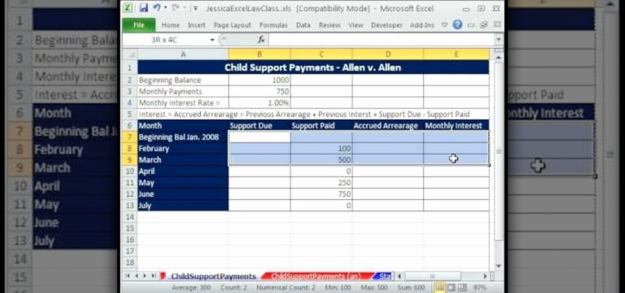 Irregular Loan Payment Calculator Excel New How to Calculate Child Support Payments In Microsoft Excel