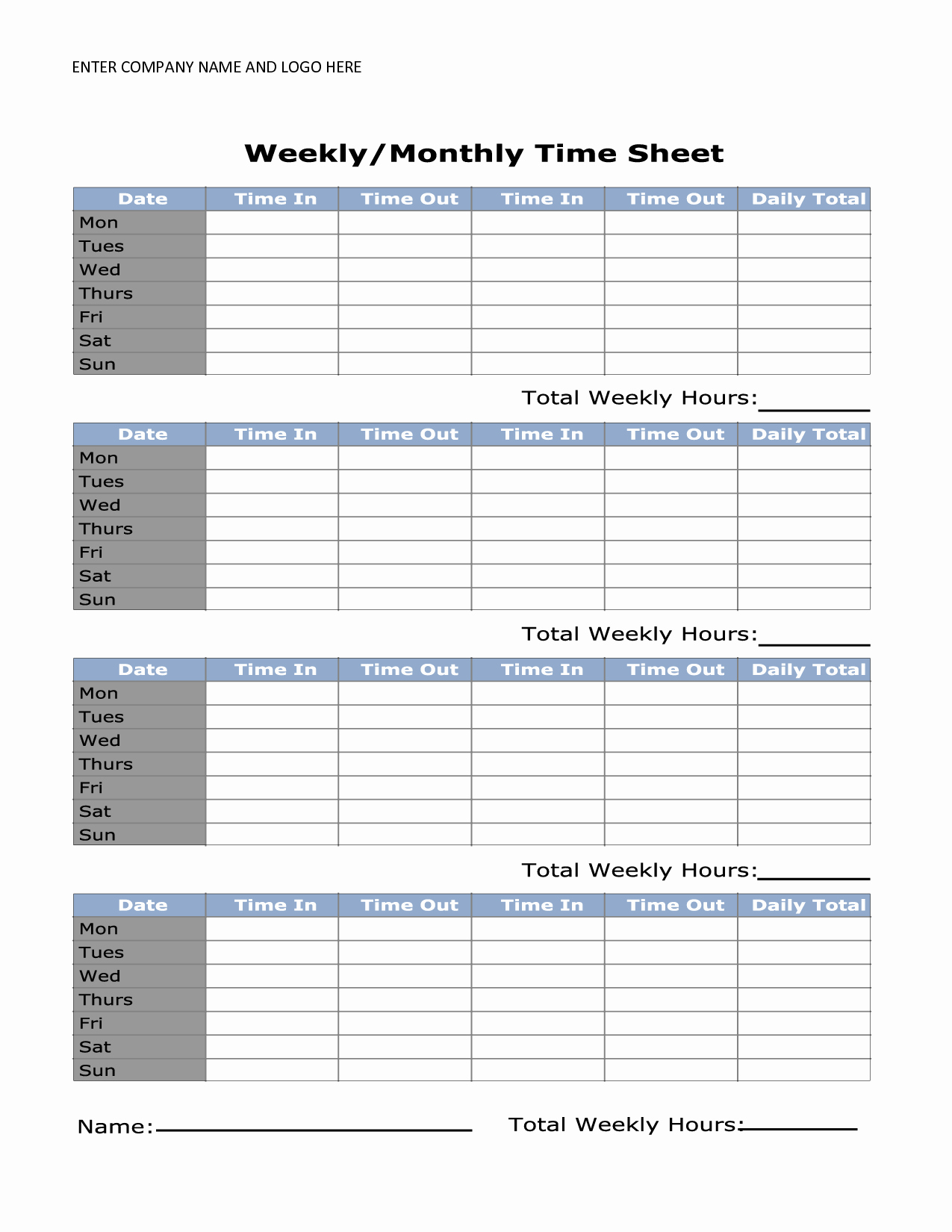 printable weekly timesheet template
