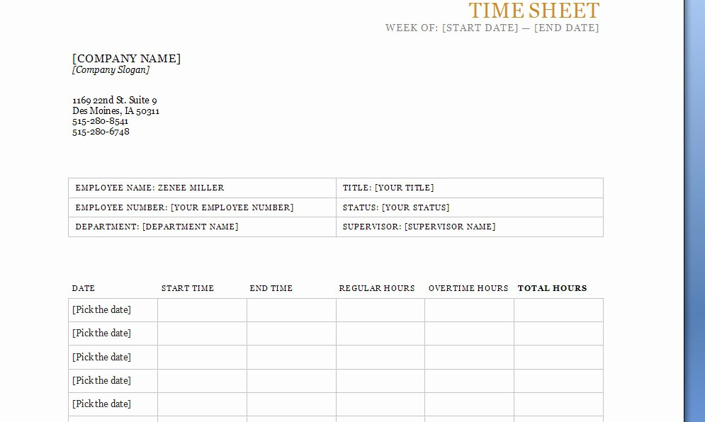 Is Time Sheet One Word Fresh Time Sheet Template