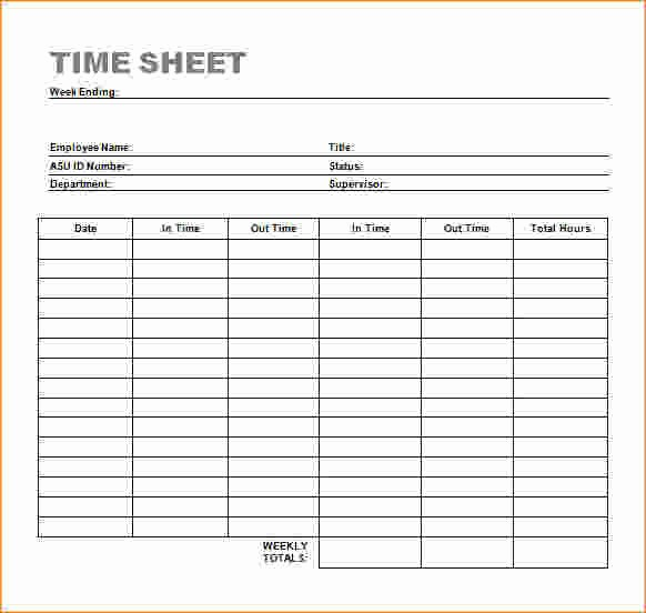 Is Time Sheet One Word Unique 7 Timesheet Template Word