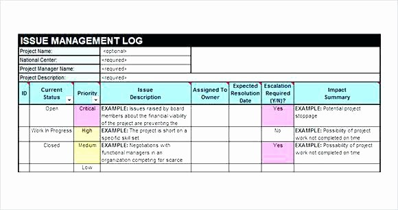 Issues List Template Excel Free Beautiful Project Tracking Template issue Excel Log Good Best