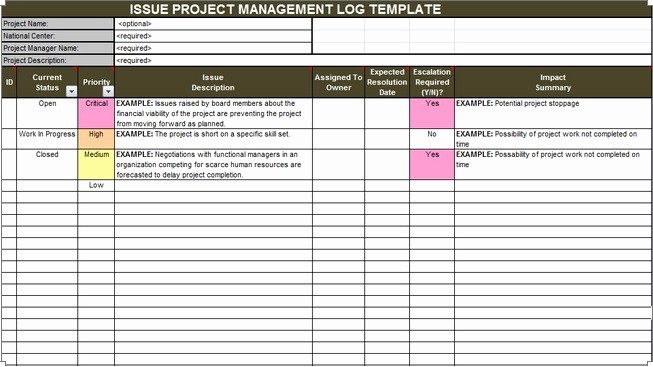 Issues List Template Excel Free Best Of Download issue Project Management Templates