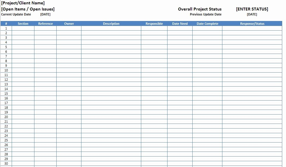 Issues List Template Excel Free Elegant Free Excel Open Items Template Download