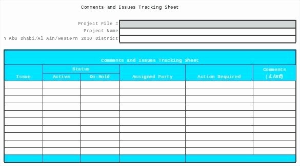 Issues List Template Excel Free Fresh Template issues Log Template