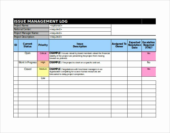 Issues List Template Excel Free Inspirational 9 issue Tracking Templates Free Sample Example format